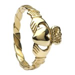 Gold Claddagh Twist Shank