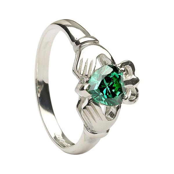 Gold La s Clad Stone Set Heart Claddagh Ring