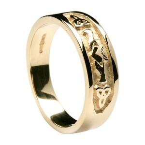 Gold Claddagh and Trinity Knot Band