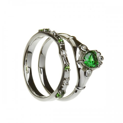 Emerald and Cubic Zirconia Claddagh with Matching Ring