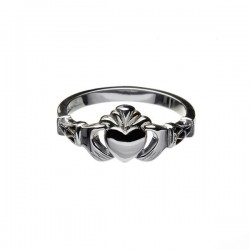 Gold New York Claddagh Ring with Trinity Cuffs