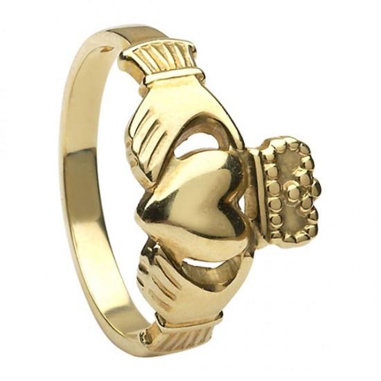 Gold Ladies Heavy Claddagh Ring