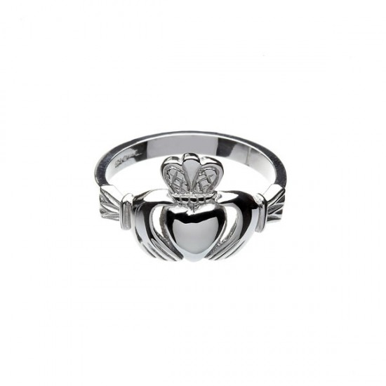 Gold Ladies Large Faced Claddagh Ring