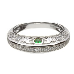 Silver Clear Cubic Zirconia with Green Stone Claddagh Ring