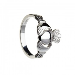 Ladies Heavy Silver Claddagh Heart Ring