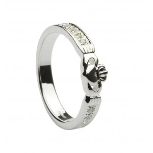 Silver Cubic Zirconia Set Claddagh Band