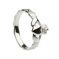 Silver Classic Maids Claddagh Ring With Celtic Weave Shank
