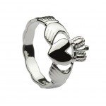 Silver Classic Ladies Claddagh Ring With Celtic Weave Shank