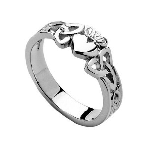 Silver Ladies Claddagh Heart Ring with Trinity Knot Shank