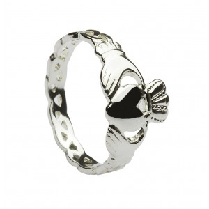 Silver Ladies Claddagh with Love Knot Shank