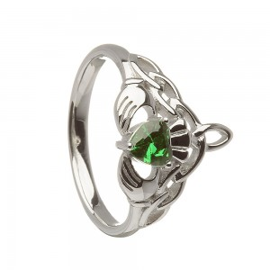 Silver Ladies Green Cubic Zirconia Stone Set Claddagh Ring