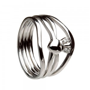 Silver Stack Claddagh Ring