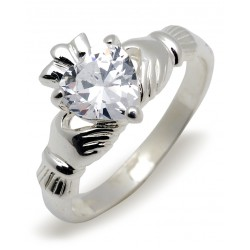 Silver Classic Claddagh Ring Set With Heart Shape Cubic Zirconia