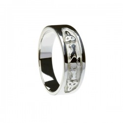 Silver Claddagh and Trinity Knot Band