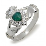 Silver Classic Claddagh Ring Set With Heart Shape Green Agate and Cubiz Zirconias