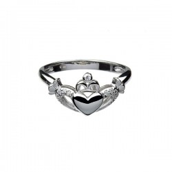 Silver Contemporary Claddagh Ring with Cubic Zirconia Heart