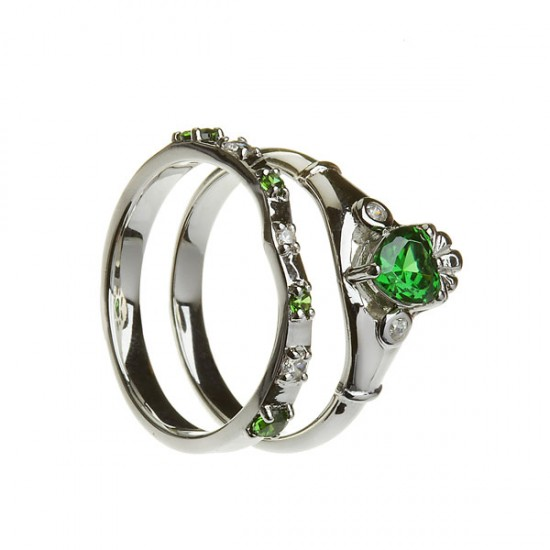 Silver Emerald and Cubic Zirconia Claddagh with Matching Ring
