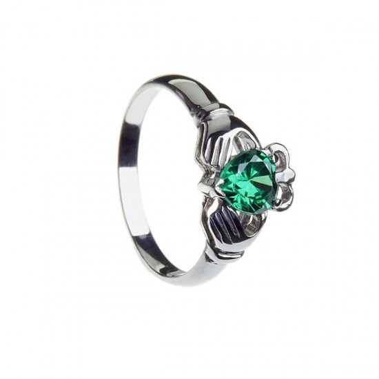 Silver Ladies Clad Stone Set Heart Claddagh Ring