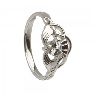 Silver Ladies Clear Cubic Zirconia Stone Set Claddagh Ring
