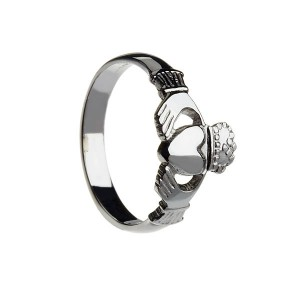 Silver Ladies Heavy Claddagh Ring