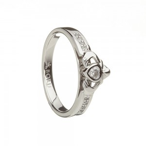 Sterling Silver Claddagh Ring with Cubic Zirconia