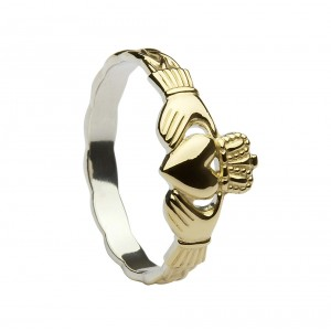 14K Gold On Silver Classic Claddagh Ring With Celtic Weave Shank