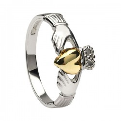 Classic Silver Claddagh 10K Gold Heart Ring
