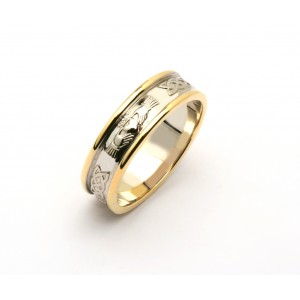 Silver Celtic Claddagh Wedding Band With 14K Trim