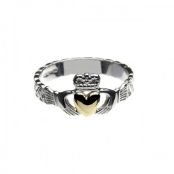 Silver Celtic Knot Claddagh 10K Gold Heart Ring