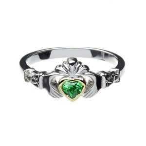Silver Stone Set New York 10K Heart Claddagh with Trinity Cuffs