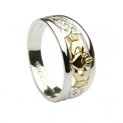 Silver Ring With Celtic Knot Work Shoulders And 10K Gold Claddagh Detail