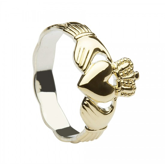 Gold On Silver Classic Ladies Claddagh Ring With Celtic Weave Shank