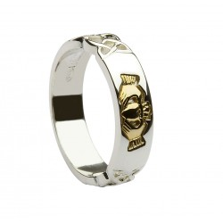 Silver Band With Celtic Knot Work Shoulders and Gold Claddagh Detail
