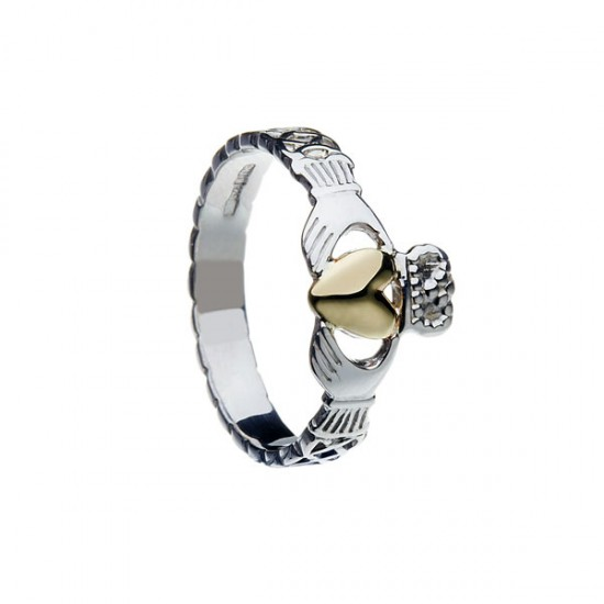 Silver Celtic Knot Claddagh Gold Heart Ring