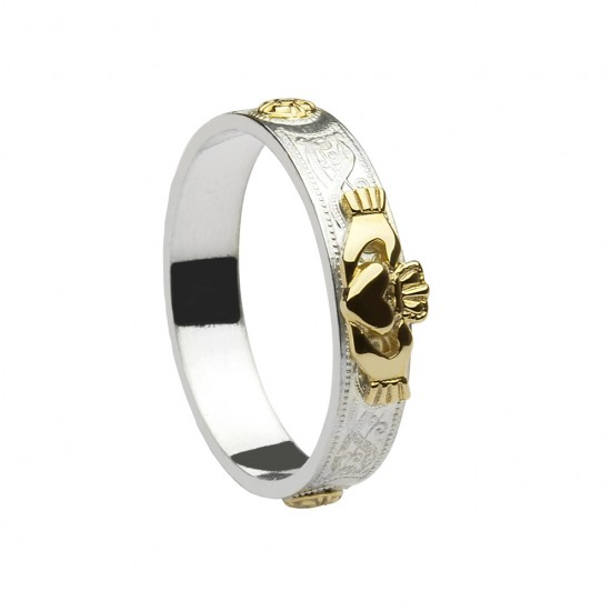 Silver Celtic Ring with Gold Claddagh and Shields