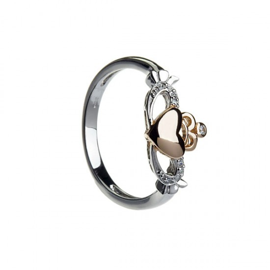 Silver Claddagh Gold Plated Rose Gold Heart with Cubic Zirconia Ring