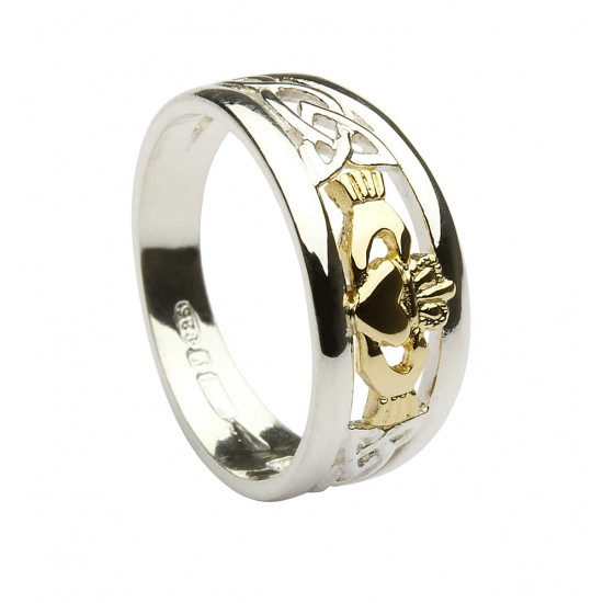 Silver Ring With Celtic Knot Work Shoulders And Gold Claddagh Detail
