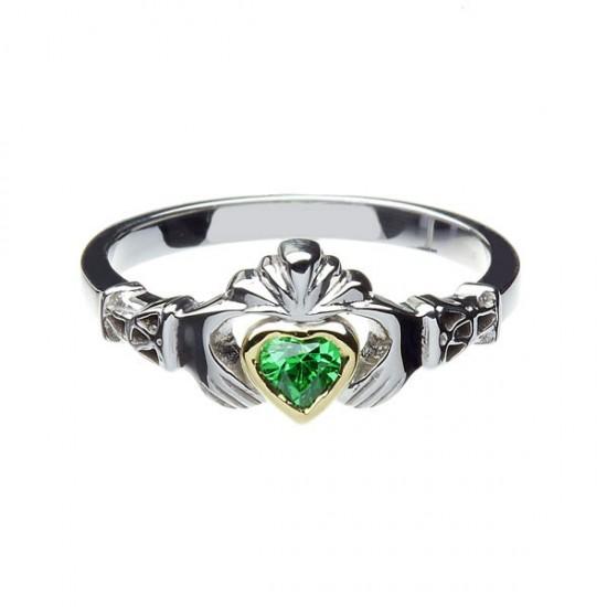 Silver Stone Set New York Gold Heart Claddagh with Trinity Cuffs