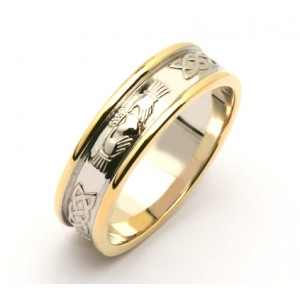 14K Two Tone Celtic Claddagh Wedding Band