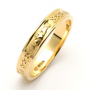 Gold Narrow Celtic Claddagh Wedding Band