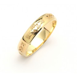 14K Narrow Celtic Claddagh Wedding Band