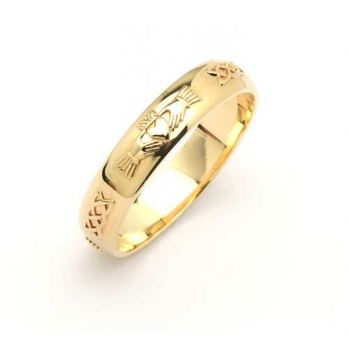 14k narrow celtic claddagh wedding band - Claddagh Wedding Ring