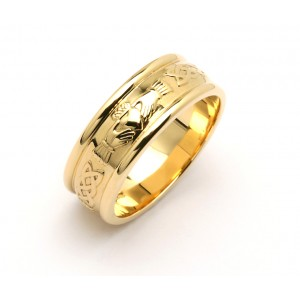 Gold Wide Celtic Claddagh Wedding Band
