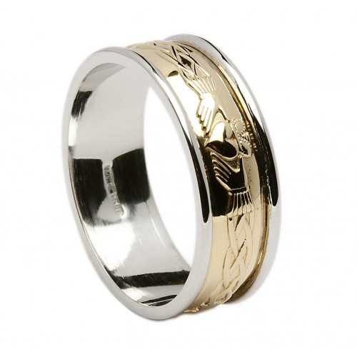 gold celtic claddagh wedding band