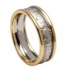 White Gold Claddagh Wedding Band with Yellow Gold Trim