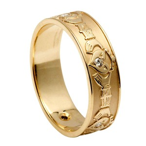 Gold Diamond Set Claddagh Wedding Ring