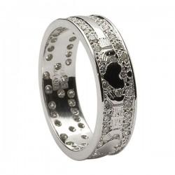 14K Gold Diamond Pave Set Claddagh Wedding Ring