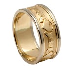 Yellow Gold Claddagh Wedding Ring with White Gold Trim