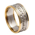 White Gold Claddagh Wedding Ring with Yellow Gold Trim