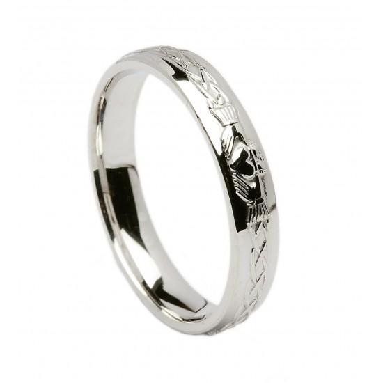 Silver Celtic Claddagh Wedding Band
